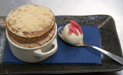 Jeff Brazier rhubarb crumble souffle with ginger ice cream using a recipe by Ruth Hansom on Cele ...