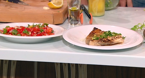 Rick Stein grilled swordfish with salmoriglio and Moroccan tomato salad on Saturday Kitchen