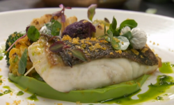 Amar Latif turbot with cauliflower and broccoli made using Lello Favuzzi recipe on Celebrity Mas ...