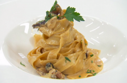 Myles tagliatelle carbonara on Celebrity Masterchef 2020