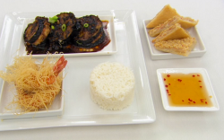 Sam Quek's vermicelli prawns with aubergines, rice, toast and chilli sauce main course on Celebr ...