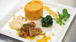Judi Love's West Indian  chicken  with sweet potato mash and steam spinach on Celebrity Ma ...