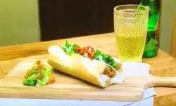 Gok Wan Bahn mi pork baguette with a cucumber, carrot and chilli salad on Gok Wan's Easy Asian