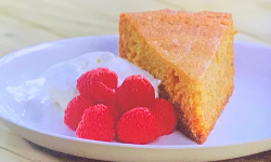 Tom Kerridge's BBQ honey cake with creme Chantilly and raspberries on Tom Kerridge Barbecues