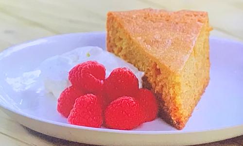Tom Kerridge's BBQ honey cake with creme Chantilly and raspberries on Tom Kerridge Barbecues
