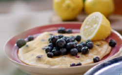 John Torode's American pancakes with blueberries on John and Lisa's Weekend Kitchen