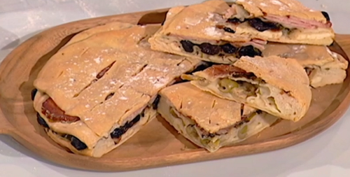 Paul Hollywood tiered bread with halloumi, olives, and coriander on Saturday Kitchen