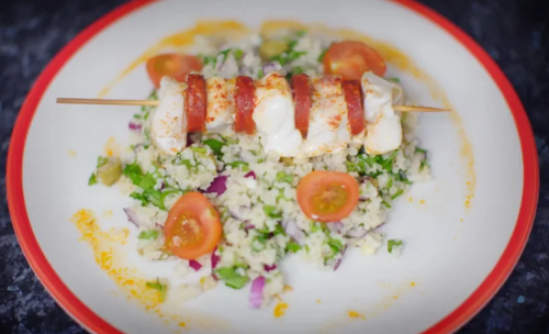 Dale Pinnock's Cod and Chorizo Skewers with Tabbouleh Salad and Bulgar wheat on Eat, Shop, ...