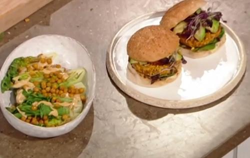 Anna Jones smoky roast carrot burgers with chickpea and tahini Caesar salad on Saturday kitchen