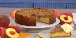 James Martin's peach crumble cake with honey cream on This Morning