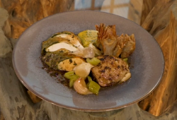 Matt Tebbutt herb Roasted chicken crown with artichoke chips and Bearnaise sauce on Saturday Kitchen
