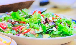 Tom Kerridge's BBQ courgette salad with feta and sherry vinegar on Tom Kerridge Barbecues