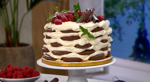 James Martin icebox cake with whipped cream, raspberries and biscuits on This Morning