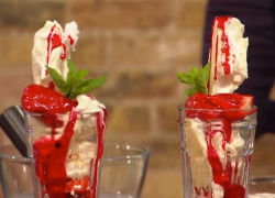 Tony Singh's Scottish Strawberry sundae with monkey blood on Saturday Kitchen