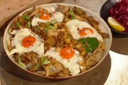 Ching's cantonese minchi with pork and potato hash with oyster mushrooms on Saturday kitchen