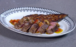 Nick Nairn and Dougie Vipond's  Scotch lamb with roast miso aubergine and sauce vierge on  ...