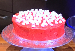 James Martin's chocolate cola cake with a red velvet meringue frosting and marshmallows on ...