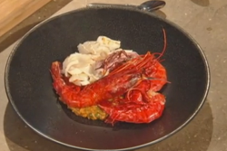 Freddy bird's  carabineros prawns and squid bomba rice with brandy alioli on Saturday Kitchen