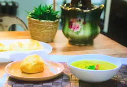 Gok Wan spiced lentil soup with baked Jamaican Johnny cakes on Gok Wan's Easy Asian