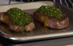 Nick Nairn and Dougie Vipond's steak with chimichurri sauce on The Great Food Guys