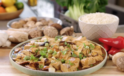 Ching's saucy vegan  tofu with ginger, mushroom sauce and rice on  John and Lisa's W ...