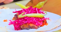 Tom Kerridge's chicken shish kebab wrap with roasted garlic sauce, chilli sauce and red pi ...