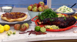 Mike Reid's Korean lamb shoulder with egg fried rice and apple  tarte tatin for a meal for ...