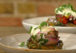 Freddy Bird slow cooked artichokes with tomatoes and creme fraiche on Saturday Kitchen