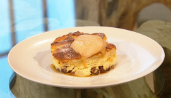 Matt Tebbutt bread and butter pudding with apricot jam and caramel cream on Saturday Kitchen
