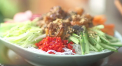 Ching's bang bang prawn noodle salad on Lorraine