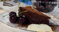 Ravneet Gill's twice baked gluten free chocolate cake with  five ingredients on This Morning