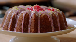 Jamie's tahini and yoghurt cake with rosewater and pomegranate drizzle on Jamie: Keep Cook ...