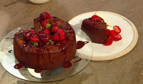 Jordan Bourke's Italian strawberry and chocolate chunk cake on Saturday Kitchen