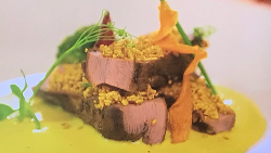 Vinod Pandey and Rajendra Kandel duck with pumpkin sauce on Lorraine