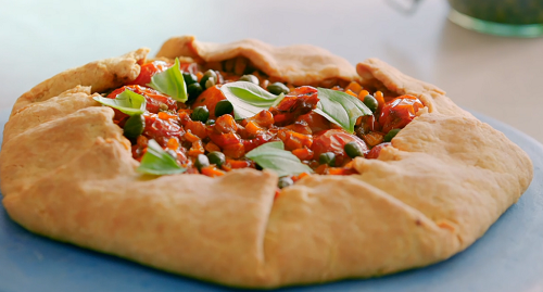 Nadiya Hussain tomato galette with hummus, anchovies and capers on Nadiya Bakes