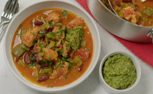 Chris Bavin's fish gumbo with bean and a kale and pumpkin seeds pesto on Eat Well For Less?
