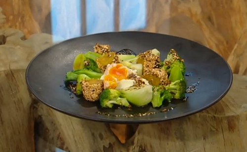 Matt Tebbutt spiced potato croquettes with poached eggs and green vegetables and curry oil on Sa ...
