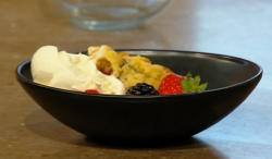 Shivi Ramoutar Baked berry slump with condensed milk no churn ice cream on Saturday Kitchen