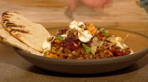 Tomer Amedi's kebab with pine nuts, pistachios and watercress pesto on Saturday Kitchen