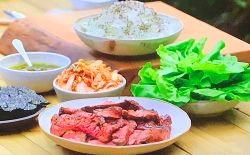 Tom Kerridge's Korean spiced BBQ steak with kimchi, infused oil and rice on Tom Kerridge Barbecues