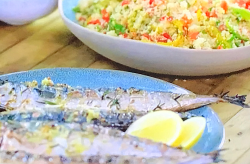 Tom Kerridge's BBQ chargrilled mackerel with couscous on Tom Kerridge Barbecues