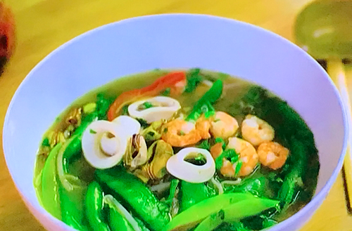 Super Gok's noodles with seafood and vegetables on Gok Wan's Easy Asian