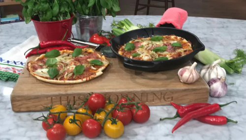 Donal Skehan pizza in a pan with natural yoghurt on This Morning