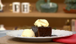James Martin sticky toffee pudding with dates, black treacle, golden syrup, clotted cream and ic ...