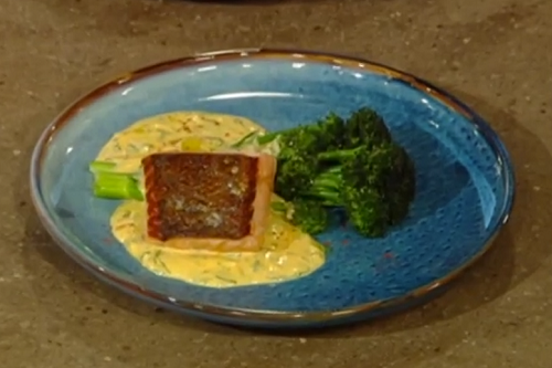 Freddy Bird salmon with sauce messine and sprouting broccoli on Saturday Kitchen