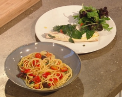 Gennaro Contaldo sea bream with spaghetti, cherry tomatoes and salad on Saturday Kitchen
