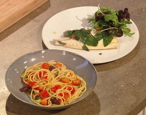 Gennaro Contaldo sea bream with spaghetti, cherry tomatoes and salad on Saturday Kitchen