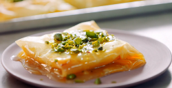 Nadiya Hussain Middle East (znoud el sit) squares with filo pastry, stuffed with thickened cream ...