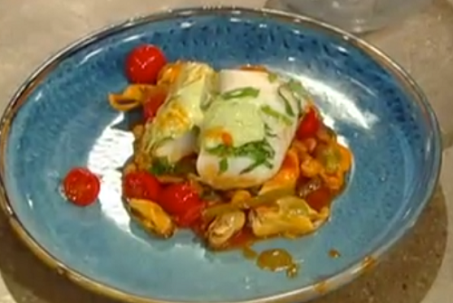 Paul Ainsworth  piperade stew, Cornish mussels, basil mayonnaise and Baked Cornish cod on Saturd ...