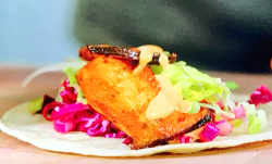 Bosh's Mexican street food Mushroom tacos with red cabbage slaw pickle and chipotle mayo o ...